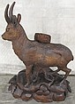 BLACK FOREST WOOD CARVING. Chamois on a rocky