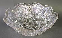 AMERICAN BRILLIANT CUT GLASS CENTERPIECE BOWL.  Ca. 1910.  Designed with a scall