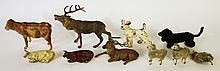 CAST METAL AND WOOLIE ANIMALS:  Lambs, cows, stags and a dog, 10 pieces.  Larges