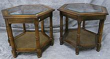 WOOD FRAME COFFEE AND END TABLE SET.  Hexagon ends and two panel rectangular cof