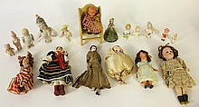 SMALL ANTIQUE DOLLS IE:  8 pin cushion dolls, four frozen Charlottes, a Victoria