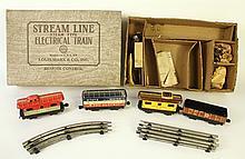 MAR (LOUIS MARX CO.) PART ELECTRIC TRAIN SET.  Four cars (missing the locomotive