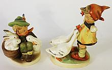TWO HUMMEL FIGURINES:  Boy with bunnies #58/0, full bee and goose girl #47/0, fu