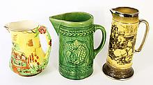 THREE POTTERY PITCHERS.  Earthenware, Ridgway, OH and majolica.