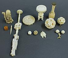 SIX IVORY PENDANT BALLS, A WAX SEAL, A TABLE,  A DISASSEMBLED PUZZLE BALL STAND