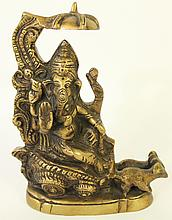 BRONZE PROCESSIONAL FIGURE OF GANESH ON A CART PULLED BY A PAIR OF SMALL BEASTS.