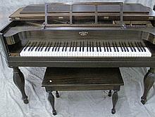 MATHUSHEK SPINET GRAND PIANO AND MATCHING BENCH.  Ca. 1910.  Mahogany case.  38