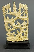 WONDERFULLY DETAILED CARVED IVORY MOUNTAIN SCENE.  3