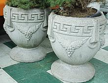 PAIR OF CEMENT RENAISSANCE STYLE PLANTERS.  Greek key border and grape cluster d