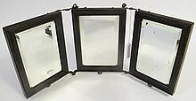 THREE PANEL FOLDING LADY'S MAKEUP MIRROR. Ca.