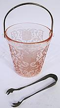 DEPRESSION GLASS ICE BUCKET. With metal handle.