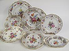 COLLECTION OF NINE VARIOUS GERMAN PORCELAIN FLORAL