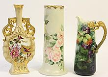 THREE TALL VASES. Early 20th century. Home