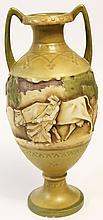 CARVED & PAINTED GERMAN/AUSTRIAN PORCELAIN VASE.