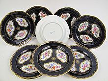 MEISSEN DEEP DESSERT PLATES. 11. With cobalt blue
