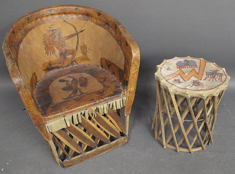 WONDERFUL OLD FOLKSY INDIAN DECORATED HIDE COVERED