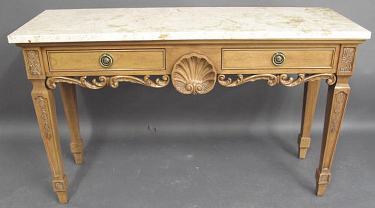 CENTURY NEO-CLASSICAL STYLE CARVED FRUITWOOD