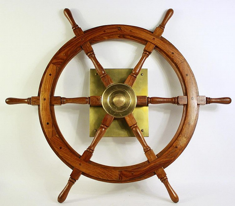 WOOD AND BRASS SHIP'S WHEEL.