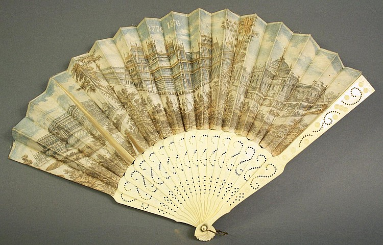 AMERICAN HISTORICAL BONE AND PAPER LITHOGRAPH FAN.
