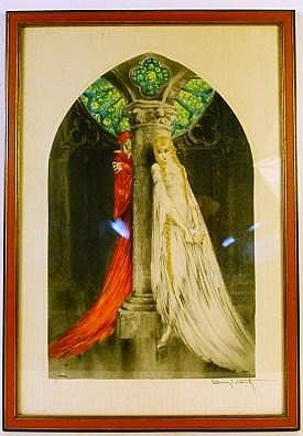 LOUIS ICART. (New York, 1888-1950). Original etching . Faust Mephistoles Marq