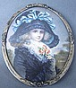 MINIATURE PORTRAIT ON IVORY. Signed J. Davit. Lady