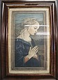 FRAMED MEZZOTINT. Young woman at prayer. Inscribed