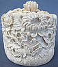 JAPANESE IVORY LIDDED JAR. Intricately carved with