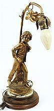 SPELTER COMPOSITION FIGURAL NEWEL POST LAMP