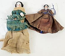 TWO VICTORIAN PORCELAIN DOLLS. Ca. 1860. Including
