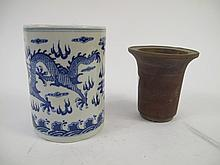 TWO CHINESE CYLINDER VASES. With terra cotta and