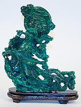 CHINESE CARVED GREEN MALACHITE FIGURE OF A SWORD
