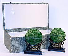 PAIR OF CHINESE DISC FORM TABLE SCREENS. With