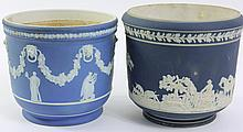 TWO BLUE JASPERWARE PLANTERS. One is a Wedgwood
