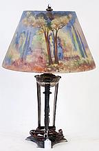 PAIRPOINT REVERSE PAINTED TABLE LAMP. With