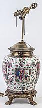 CHINESE FAMILE VERT TABLE LAMP. Large bulbous jar