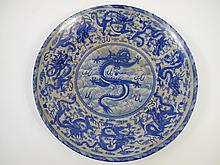 CHINESE PORCELAIN CHARGER. Recent. With writhing