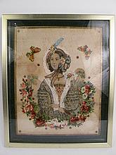EARLY VICTORIAN ARTWORK. Sentimental woman with