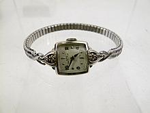 LADY HAMILTON 14K WHITE GOLD WRISTWATCH. With a