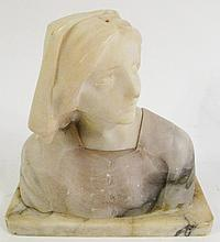ITALIAN 19TH/20TH CENTURY CARVED ALABASTER BUST OF
