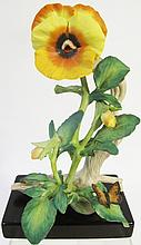 CYBIS PORCELAIN GOLDEN PANSY WITH BUTTERFLY. #755.