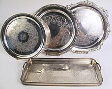 FOUR FINE SILVERPLATE TRAYS. Including Gorham and