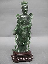 CHINESE SPINACH GREEN JADE FIGURE OF KUAN-YIN WITH