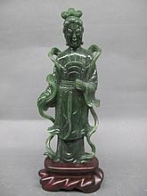 CHINESE SPINACH GREEN JADE FIGURE OF KUAN-YIN.
