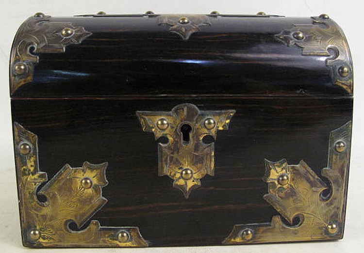 ENGLISH CALAMANDER AND BRASS MOUNTED GOTHIC STYLE
