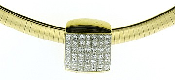 FINE OMEGA 14K GOLD AND DIAMOND NECKLACE. With 49