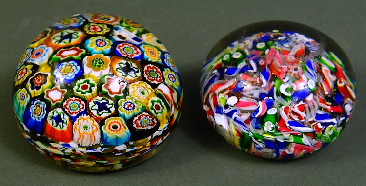 TWO ANTIQUE MILLIFIORI GLASS PAPERWEIGHTS.