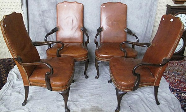 FOUR QUEEN ANNE STYLE MAHOGANY & LEATHER