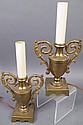 PAIR OF BRONZE URN SHAPED LAMPS.  13