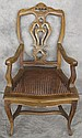 LOUIS XV STYLE COUNTRY FRENCH WOOD AND ? ARMCHAIR.
