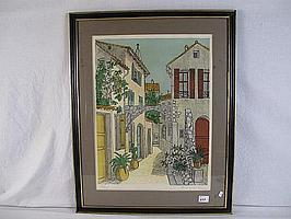 Denis Paul Noyer TILLING BUS Hand Signed Limited Edition Large Lithograph